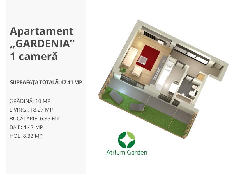"""Apartament """"GARDENIA"""" – 1 cameră"""