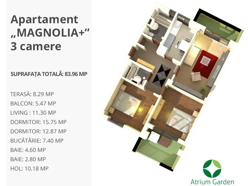"""Apartament """"MAGNOLIA+"""" – 3 camere"""