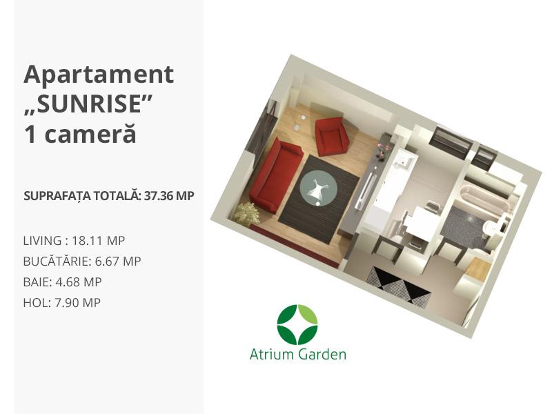 """Apartament """"SUNRISE"""" – 1 cameră"""